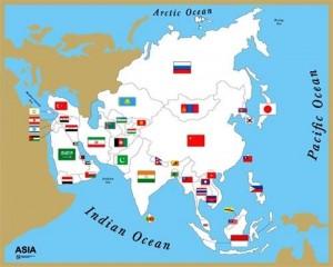 Asia paesi terre bandiere mappa